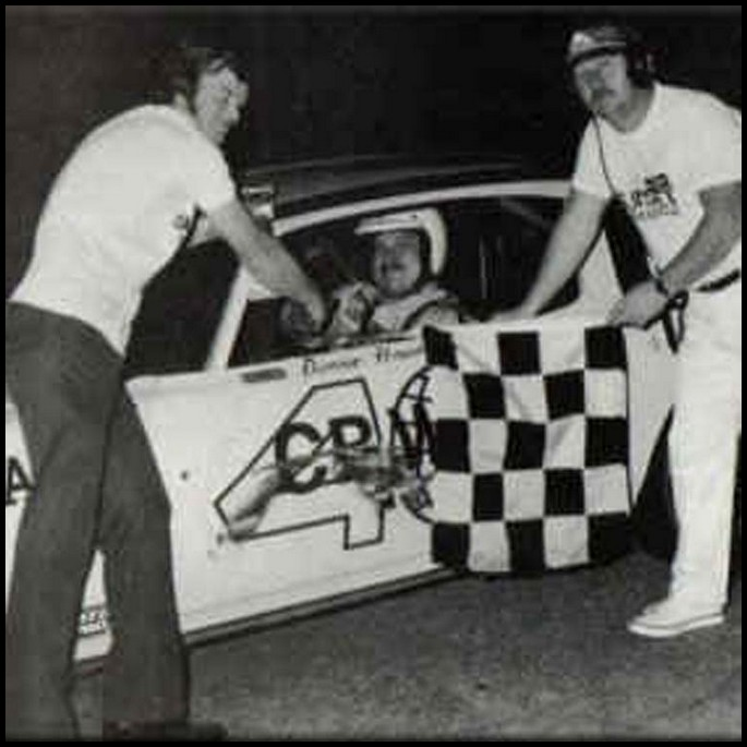 Don Hawn takes the Checkers at Sunset Speedway. Courtesy of Hawn Motorsports