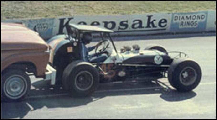 Howie Scannell in Norm Mortons Supermodified at Oswego in the mid 1960s. Courtesy of Gary Anderson