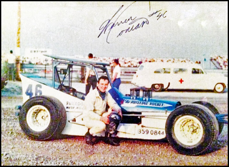 Warren Coniam #46 from King City, Ontario with the Rutledge Rocket at Flamboro Speedway. Courtesy of Glen Tustin