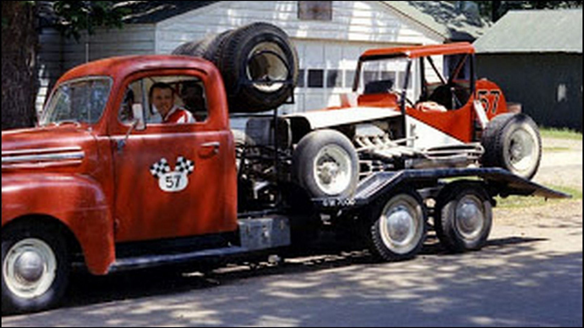 Barry in truck & race car on hauler