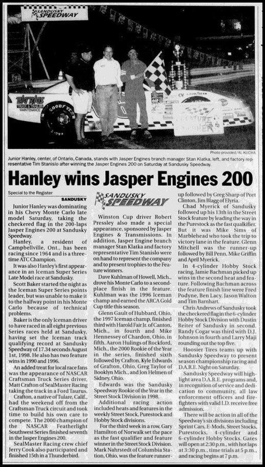 Hanley Wins Jasper Engines 200 at Sandusky Speedway!Courtesy of Thomas Schmeh