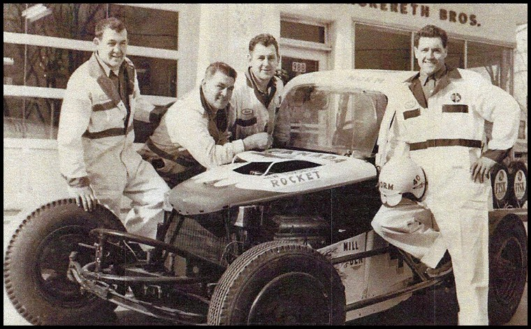 The Mackereth Brothers, Ben Harry, Norm and Dave in front of the Mackereth Brothers Garage.